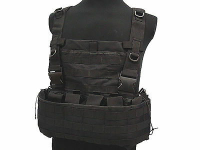 Tactical Tac Combat Vest Molle Magazine Chest Rig Airsoft Paintball Military BK