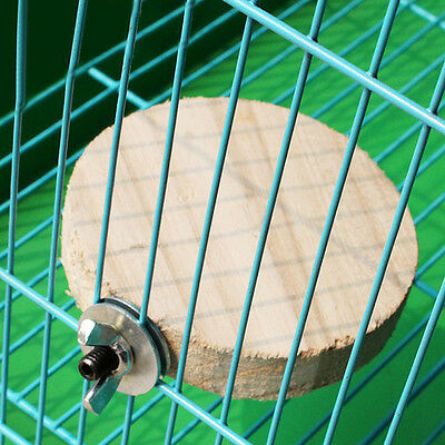 Wooden Mini Round Parrot Bird Cage Perches Stand Platform Pet Budgie Toy