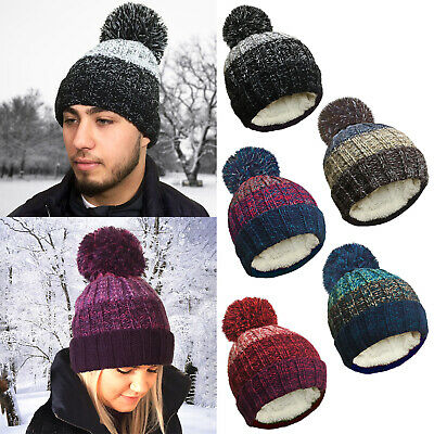 Mens Womens Ladies Warm Winter Pom Pom Bobble Ski Beanie Hat Fur Fleece Lining