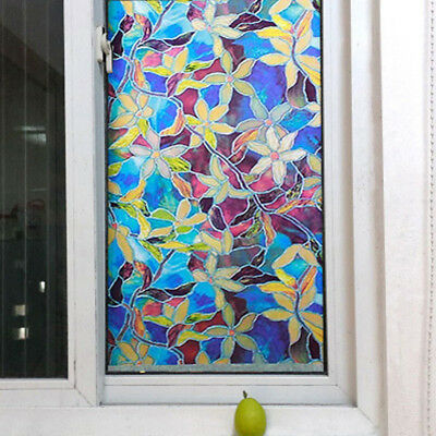 Static Cling Cover Stained Film Flower Protect Home Window Decor