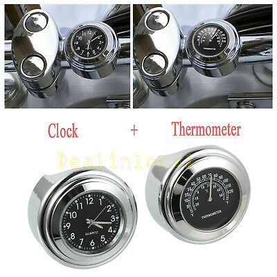 "7/8"" Motorcycle Handlebar Mount Dial Clock Watch Temp Thermometer Gauge Black AU"