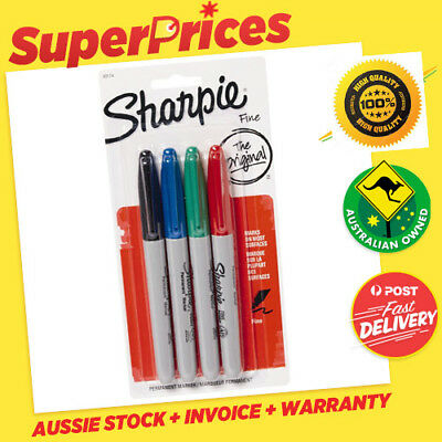 SHARPIE◉PERMANENT MARKERS 4 PACK◉BLACK BLUE GREEN RED◉FINE POINT◉PEN◉Texta◉30174