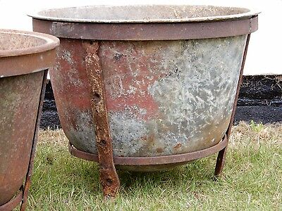 Vintage,Garden planter, Old Cast Iron Copper on Metal Stand, Great Patina