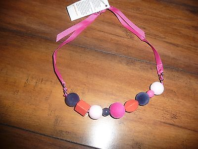 NEW NWT Gymboree girls beaded ribbon necklace pink and blue beads