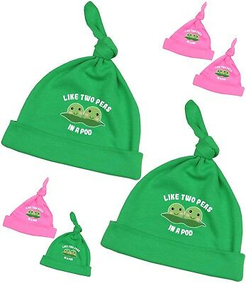BabyPrem Baby Clothes TWINS Peas IN A POD 2 x Cotton Knotted Hats 0 - 12m