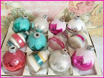 Beautiful Antique Vtg Shiny Brite Feather Tree Xmas Ornaments Bells Barrel Mica