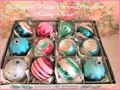 Beautiful Antique Vtg Shiny Brite Pink & Aqua Double Indent Glass Xmas Ornaments