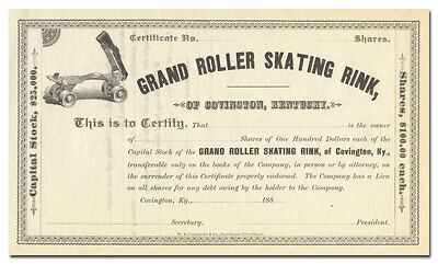 Grand Roller Skating Rink of Covington, Kentucky Stock Certificate