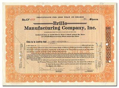 Brillo Manufacturing Company Stock Certificate Signed by Inventor Milton Loeb
