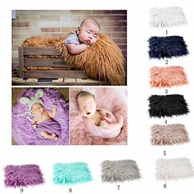 OULII Baby Photo Props Soft Fur Quilt Photographic Mat DIY Newborn Baby