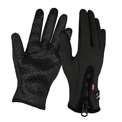 Unisex Mens Ladies Cycling Sports Grip Touchscreen Full Finger Gloves With Zip