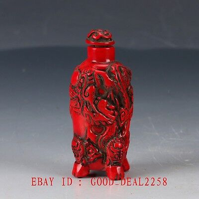 Old Chinese Red Coral Handwork Carved Dragon & Phoenix Snuff Bottle BYH15