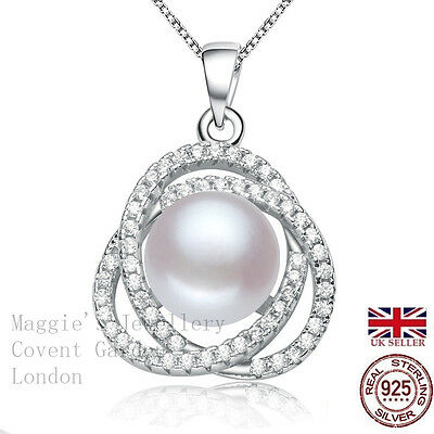 Freshwater Pearl Necklace & Pendant Sterling Silver with 925 mark