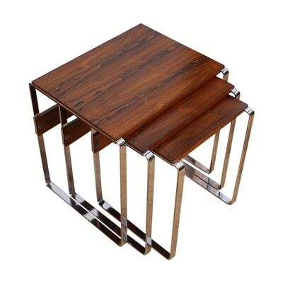 An Absolutely Stunning Mid-Century Nest Of  Rosewood And Chrome Tables Merrow