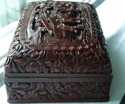 Antique~Vintage Chinese Cinnabar Lacquer Box