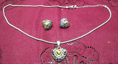 "Avon Heart Necklace Clip Earrings Silver Gold Tone 24"" Fashion Jewelry"