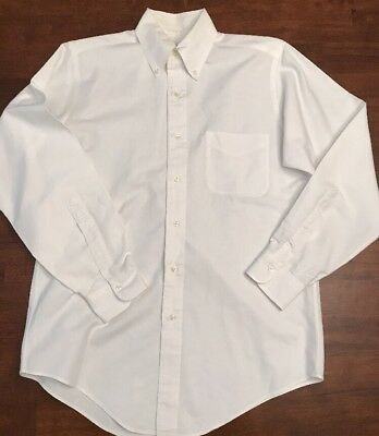 Men's White Brooks Brothers Original Polo Long Sleeve Dress Shirt Size 14 1/2-33