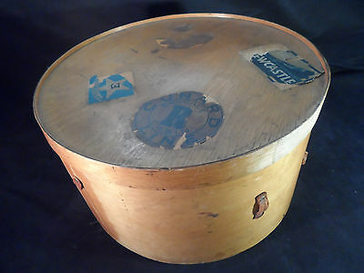 Antique Vintage Wooden Luterma Hat Box -- Early 1900's -- Cunard, White Star