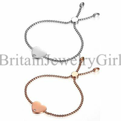 Stainless Steel Chain Link with Finish Heart Charm Bracelet for Women Girls *2MM