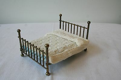 Vintage Dollhouse Miniature Furniture Brass Bed with Mattress and Bedspread
