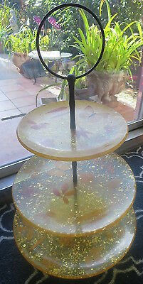 Vintage Lucite/acrylic Gold Flakes  3-Tier Dessert  Cake Tray