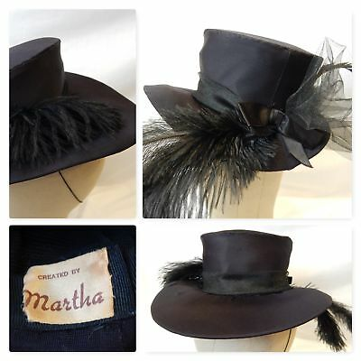 1930s True Vintage HAT~BLACK RIDING/TOP HAT~OSTRICH FEATHERS Netting Ribbon