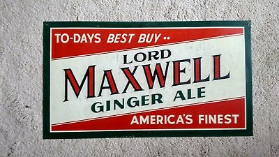 Vintage 1940's Lord Maxwell Ginger Ale sign.
