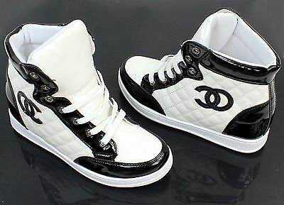Women's Leisure Platform Stylish Ankle Boots Sneakers White Black