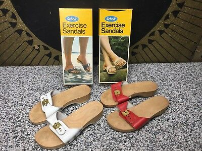 (2) Pairs Vintage Dr. Scholls Wood Exercise Sandals Red & White Size 6