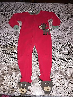 Boy's Clothes Carter's Christmas Red Reindeer Footed Pajamas PJs Size 4T
