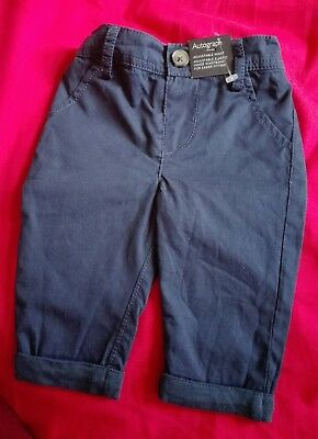 Baby Boy Marks and Spencer Autograph Navy Chinos 0-3 months NEW