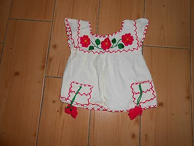 Vtg 70's Toddler Girls Mexican Hippie Boho Handmade Ornate Embroidered Top XS