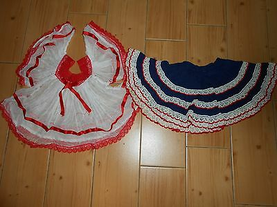 Vtg 70's Toddler Mexican Hippie 2pc Gauze Angel Sleeve Top & Fiesta Swing Skirt