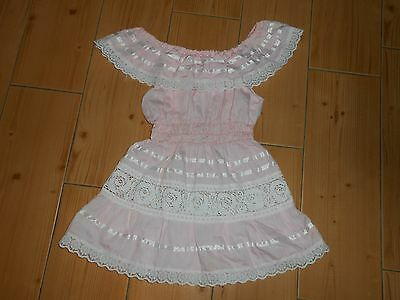 Vtg 70's Toddler Mexican Hippie Boho PINK w White Lace Peasant Fiesta Dress  M