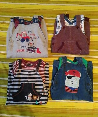 4 x boys 9-12 months dungarees set