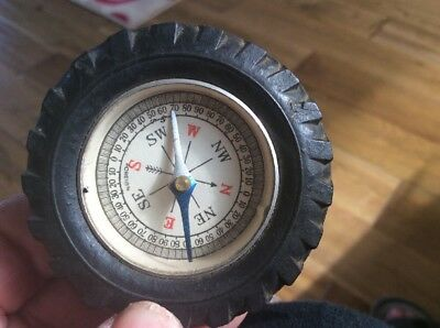 Small Miniature Compass, Vintage Set In A Tyre ,