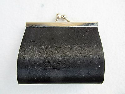 "Black Satin Kiss Lock COIN PURSE 3 1/2"" x 3"""