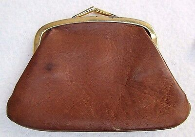 "Vintage Light Brown Leather Kiss Lock COIN PURSE 4 3/4"" x 3 1/4"" Craft Repurpose"