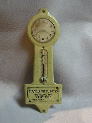 Vintage Advertising Metal  THERMOMETER Mayland P Foss Insurance Pittsfield NH