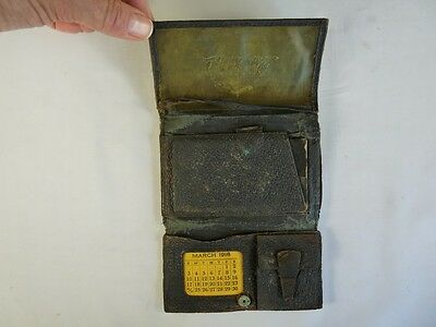 1918 ANTIQUE Leather Trifold WALLET W/Calendar And Postage STAMP Pockets Men's