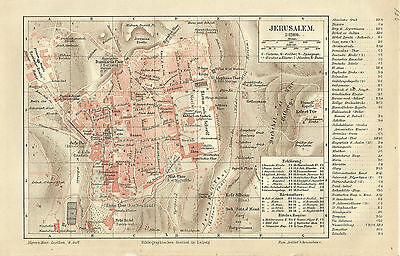 1887 Jerusalem Israel Historischer Stadtplan Landkarte Antique City Map