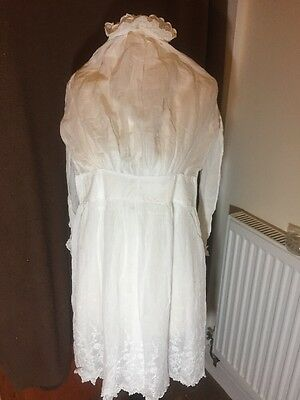 Antique Edwardian White Lace Embroidered Dress Girls Childrens