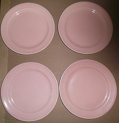 """4 Sharon Pink Luray Pastels 6¼"""" Bread and Butter plates mint Taylor Smith Taylor"""