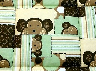 MONKEYS & DOTS, 35x43in , THICK BABY/TODDLER COTTON QUILTED BLANKET/COMFORTER