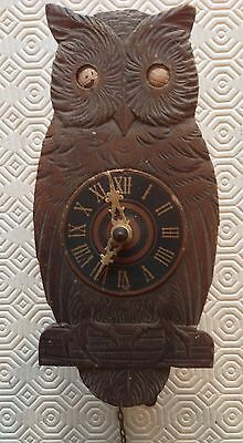 Antique Wooden Blinking Eye Owl Wall Clock For Spares/repairs
