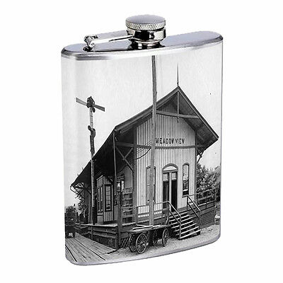 Vintage Train Stations D7 Flask 8oz Stainless Steel Hip Drinking Whiskey Retro