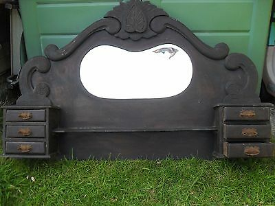 Antique Extra Large Dresser Top Over Mantle Mirror Original Patina Ideal Upcycle