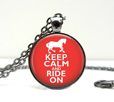 KEEP CALM AND RIDE ON Vintage-look Glass Domed Necklace