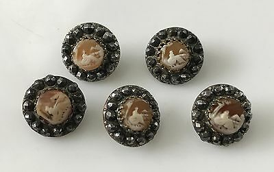 Set of Five Antique Victorian Cameo Buttons with Cut Steel Balls