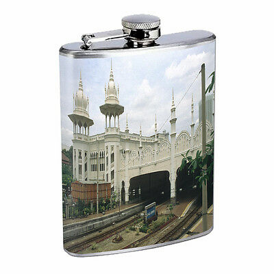 Vintage Train Stations D13 Flask 8oz Stainless Steel Hip Drinking Whiskey Retro